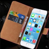 Wholesale Korean Wallet Phone Case - Top Quality Korean Genuine Leather Case For iphone 6 4.7 inch 2 Styles Wallet Stand Card Holder & Flip Magnetic Chip Phone Cover