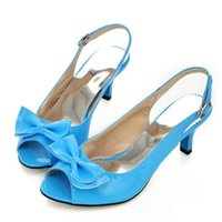 Wholesale Ladies Strapping Men - Wholesale-Women Sandals 2015 Summer Shoes Woman Sandals Peep Toe Big Bow Ladies Heel Sandals 14 34 46 Large Size Womens Shoes Black Blue