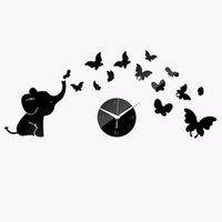 Wholesale Clock Stickers For Wall - Watches Fashion Personality Mirror Perspective Wall Clock Elephant Butterfly Wall Clock