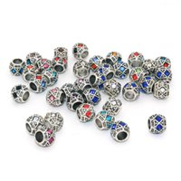 100pcs / lot Multi Crystal Antique Silver Plated Spacer Charm Alloy Beads Fit Pandora European Snake Chain Bracelet Necklace