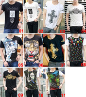 Wholesale Tiger Digital Printed T Shirts - 2015 Fashion Men's Summer T-shirt Tiger Digital Logo Cotton Casual Short-sleeved White Black Gray Stylish Basic Shirts Tops Tee F055 10PCS