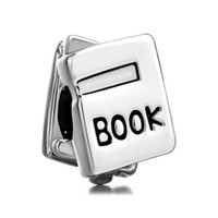 Wholesale Bead Books - Metal Slider Spacer Large Hole Rhodium Plated School Book European Bead Fit Pandora Chamilia Biagi Charm Bracelet