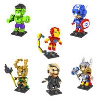 Wholesale 3d Set Models - New Model 6pcs set Super Man Iron Man Spidermant 8.5cm LOZ Diamond Building Blocks Action Figure 3D Bricks Toys No Original Box