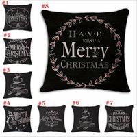 Wholesale Hand Painted Pillows - Christmas Cotton and linen Hand painted illustration Pillow case household sofa cushion cover Christmas Pillowcase decoration YYA785