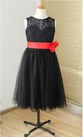 vestidos de dama de honor junior negro rojo al por mayor-Encaje negro cariño tul ojo de la flor vestido de niña tutú niños niños junior vestido de dama de honor con marco rojo desmontable para la boda