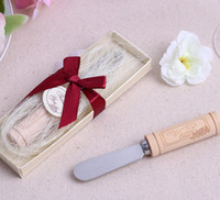"""Wholesale Stainless Spreader - DHL Free Shipping 100pcs lot Wedding favors gifts Stainless Steel Wooden handle Spreader """"Vintage Reserve"""" Butter Knife"""