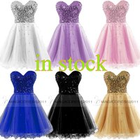 Wholesale Sheer Sequin Tulle Prom Dress - Cheap Homecoming Dresses 2015 Occasion Dress Gold Black Blue White Pink Sequins Sweetheart Short Cocktail Party Prom Gowns 100% Real Image
