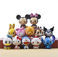 Wholesale Winnie Pooh Toys Wholesale - new Cute Cartoon HelloKitty Doraemon minnie Mickey Mouse Stitch Winnie the Pooh PVC toys Collectible Action Figure doll toy12 style