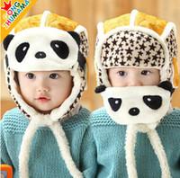 bomber kinder hüte großhandel-Schöne panda hüte baby caps kinder flieger hut bomber wintermütze kinder masken warm alle für kinder kleidung und zubehör