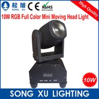 Atacado-10W CREE RGB Full Color Rotating LED Feixe Moving Head Light / SX-MH0110