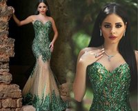 Wholesale emerald evening gowns - Arabic Dubai 2018 Sexy Dark Emerald Green Sequined Applique Mermaid Prom Dresses New Sweetheart Beaded Chapel Train Evening Gowns