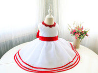 Wholesale Infant Christmas Pictures - Red&White Sleevless Baby Girl Pageant Dress, Infant Easter Dress, Toddler Girl Birthday Dress, Fower Girl Dress