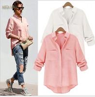 düzensiz kenar kadınların üstündür toptan satış-Blusas Femininas 2016 Güz Pembe Beyaz Rahat Uzun Kollu Gömlek Kadın Bluzlar Keten Düzensiz Hem Bayanlar Chemisier Femme ZDD Tops