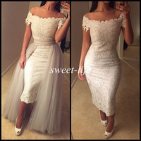 Wholesale Sexy Women Winter Jackets - New Sexy Prom Dresses White Lace Tea Length Off Shoulder Short Sleeve Detachable Train 2015 Vintage Women Evening Gowns Party Cocktail Dress