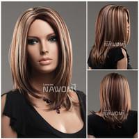Wholesale Kanekalon European - european hot wigs with no bangs medium long blond wigs for women Synhetic fiber of 100% Kanekalon 1pc Lot Free Shipping 0729ZL973-33H27
