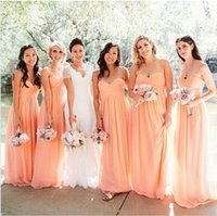 Wholesale Flow Summer Dress - Flowing A Line Sweetheart Long Chiffon Peach Pink Bridesmaid Dress Maid of Honor Dress Vestido de madrinha Plus Size