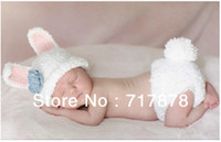 Wholesale Rabbit Hat Costume - Brand New Baby Crochet Clothes Bunny Hat Outfit Photo Prop Newborn -9M Costume Rabbit Freeshipping
