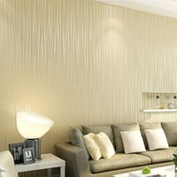 Wholesale Vertical Striped Wallpaper - Wholesale- Non-woven Wallpaper Plain Minimalist Living Room Warm And Solid Vertical Striped Wallpaper Roll Bedroom Wall Paper TV Backdrop