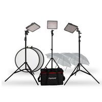 "Wholesale Camcorder Led Light Video - Aputure CRI95 LED Video Light Panel Kit 2x HR672W + 1x HR672S +2m Stand + 33"" Soft Umbrella + 5 in 1 Reflector for Camcorder DSLR Camera"