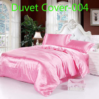 Wholesale Pink Full Comforter - luxury Pink red Satin Imitate Silk 1pcs Duvet Cover Quilt Cover Twin Full Queen King size Bed Comforter Cover Bedding Bedclothes Bedding bag