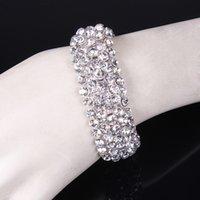 Wholesale Stretchy Bling Bracelets - Wholesale-Bridal bracelet Jewelry HOT Sell Stretchy 5 Rows Bling Crystal Rhinestone Bracelets fashion bracelet YY-17031