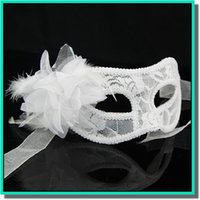 Wholesale Translucent Cloth - Promotional selling handmade Venice golden cloth yarn feather ball translucent mask with lily flower and black,white,and red for choose