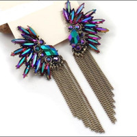 Wholesale Wholesale Feather Wings - Korea Angel Wing Feather Purple Crystal Earrings Fashion 2016 For Women chain tassel earrings Girls Christmas gift