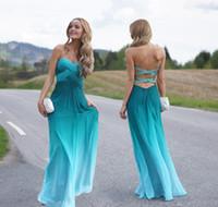 Wholesale Fit Petite Women - Blue Gradient Sexy Long Prom Dresses 2016 robe de soirée Crystal Beaded Cross Straps Ruched Pleats Chiffon Evening Party Dress Women Fits