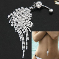 Wholesale Large Belly Button Rings - fashion Silver crystal tassels belly button ring Large droplets long tassels navel buckle Body piercing jewelry