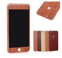 Wholesale Iphone Sticker Designs - 2016 Vintage Imitate wood grain design Full Body Film sticke Protector For iphone7 7plus 6 6S plus 5S 5C Skin Sticker Case Front +Back decal