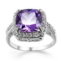 Wholesale best seller jewelry resale online - 2 New Arrival Best Seller quality Silver purple Cubic Zirconia Gemstone Jewelry Lady Wedding rings Jewelry