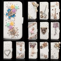 Wholesale Diamond Case For Galaxy S4 - Handmade Crystal Bling Diamond Rhinestone Flip Wallet Leather Case Card Slots For iPhone 4 5 6 Plus Samsung Galaxy S4 S5 S6 Edge Note 3