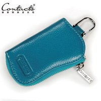 Wholesale Key Holder Leather Case Solid - 2015 New Arrival Candy colors Cowhide leather key wallets holder 6 key chain solid women&men's key case bag C1004