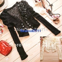 Wholesale Double Breasted Shrug Jacket - Black, Apricot Cozy Women's Hollow Out Shrug Short Blouse Top Lace Jacket 7852