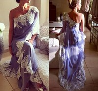 ingrosso abiti da sera arabi per le donne-2019 lavanda saudita abiti da sera arabi una spalla appliques pizzo in chiffon indiano dubai donne abiti da sera formale sexy lungo abito da ballo