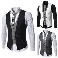 Wholesale Mens Casual Vests - 2015 new Fashion slim men's clothes V-neck Splice men's vest casual mens vest fack 2pcs vest 6 colour 3550 black