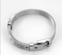 Wholesale Stainless Steel Clasps 8mm - Hot!!10PCS Lot 8MM Stainless Steel Wristband Bracelet DIY Accessories Charm Bracelets Fit 8MM Slide Charms  Slide Letters WB06-1