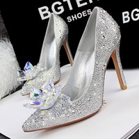 Wholesale gowns 39 - Cinderalla Crystal Shoes Rhinestone Wedding Shoes Silver Prom Gown Dress Shoes Size 34 to 39
