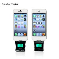 Wholesale Iphone Portable Breathalyzer - Wholesale-Portable Breathalyzer Alcohol Tester For iPhone 5  iPod Touch 5  iPad Air  Mini LCD Digital Display Alcohol Tester Keychain