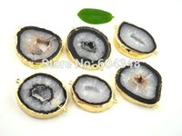 Wholesale Agate Druzy Geode Pendant Bead - 5pcs Charm Geode Druzy Agate Connector Beads in Black color, Agate pendant Gold Plated Geode Agate Connectors, Jewelry Findings