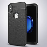 Wholesale Slimmest Cell Phone - New for iphone 7 8 X 6S plus TPU silicone cell phone case with leather case texture soft slim case cover for samsung NOTE 8 luxury