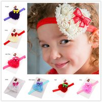 Hair Sticks Cotton Solid 24pcs Heart Flower headband Cheap Hair Bows Newborn Photo Prop Headwrap Christmas Gift Little Girls Hair accessories Baptism Gift