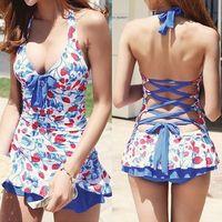 Wholesale Sexy Swim Dresses - Womdee Pin Up Sexy Swimsuit Push Up Halter Bikini Tankini Swim Dress Swimwear Bathing Suit Beachwear (Strawberry)