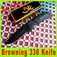 Wholesale Browning Knife Drop Shipping - Drop shipping Browning 338 knife 440c 57HRC Blade camping hiking pocket knife knives New in Retail box packaging outdoor survival knife 709X