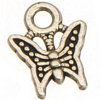 Wholesale Animal Jewelry Findings - 400pcs lot new diy fashion classics jewelry finding metal animal vintage silver butterfly samll charms for handmade 11*9mm