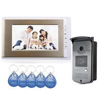 lcd verdrahtete häusliche sicherheit großhandel-7 Zoll LCD verdrahtete Hauptfarbvideo-Türsprechanlage ID RFID Keyfobs IR Outdoor-Kamera Großhandel