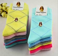 Wholesale Dimond Socks - Wholesale-10 pairs   lot Hush puppies women's socks 100% cotton candy color commercial anti-odor 100% dimond plaid cotton knee-high