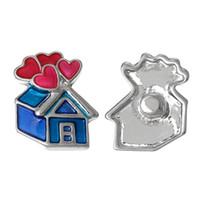 ingrosso braccialetti a bottone a scatto blu-Spedizione gratuita New Fashion Snap gioielli Button House tono argento Bracciali Fit smalto cuore blu 21mm x 18 mm, Manopola Dimensioni: 5.5mm Vn-257