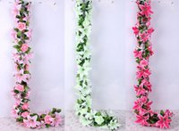 Wholesale Large Rose Flower - Lily Rose Full Flower vine artificial rattan flower arch flower Large lily Artificial Garland For Wedding Decorations FZH088