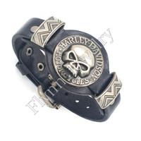 Wholesale Christmas Decorations Traditional - Charm Skull Watch Watchband Design Adjustable Leather Charm Bracelet Bangle Punk Rock Hiphop Decorations Amulet Jewelry 10Pcs